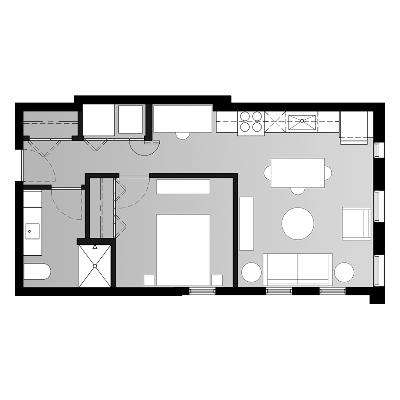 1 Bedroom Floor Plan Kitchen Living Room Combined