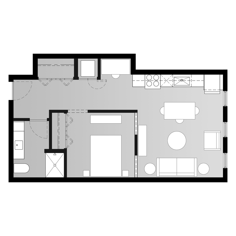 1 Bedroom Floor Plan with Hallway