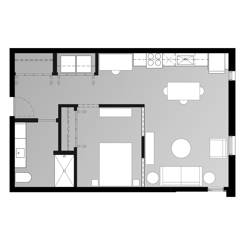 1 Bed and Bath for Rent Floor Plan
