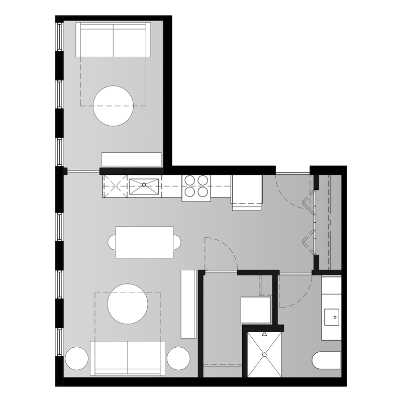 1 Bedroom Floor Plan with Foldout Couch