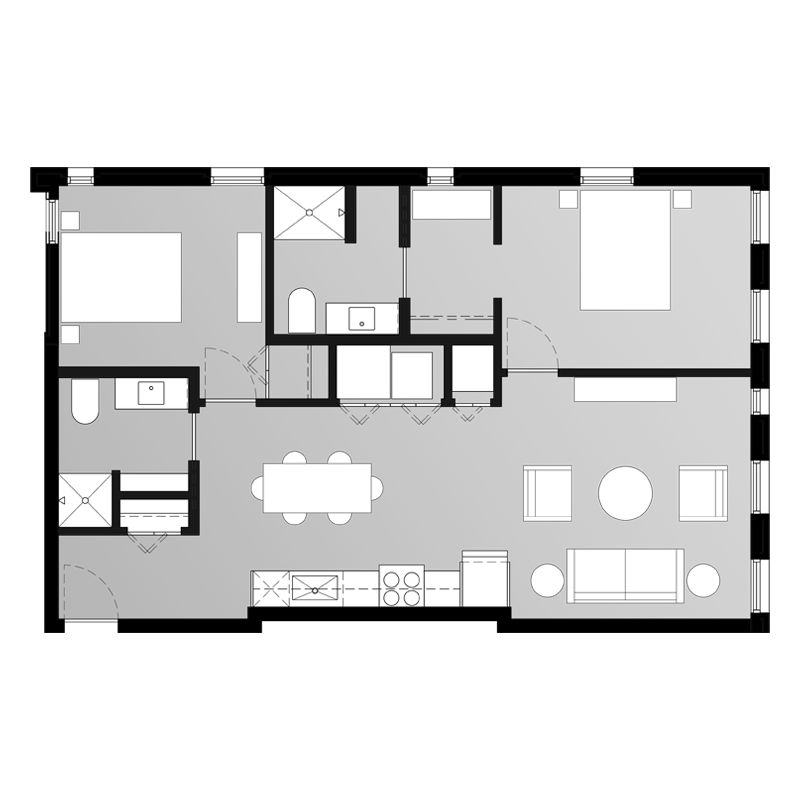 Spacious 2 Bedroom Apartment Floor Plan
